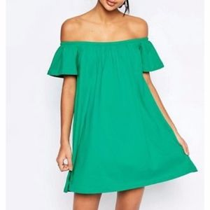ASOS Off Shoulder Mini Green Dress